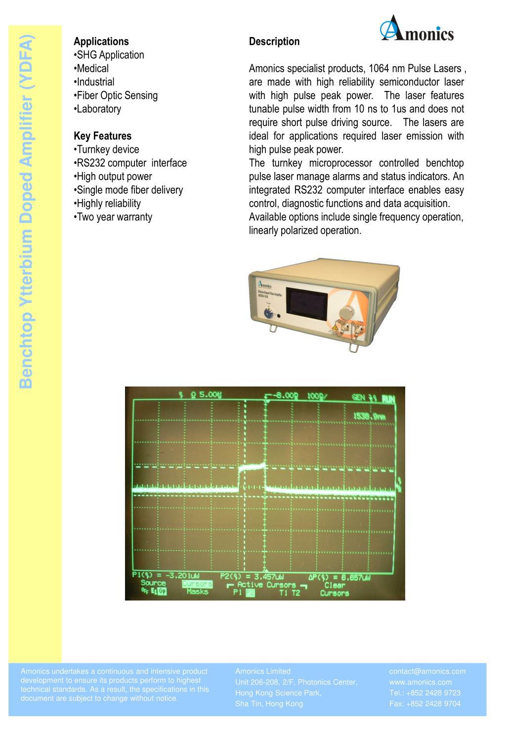 Benchtop Ytterbium Doped Amplifier (YDFA)
