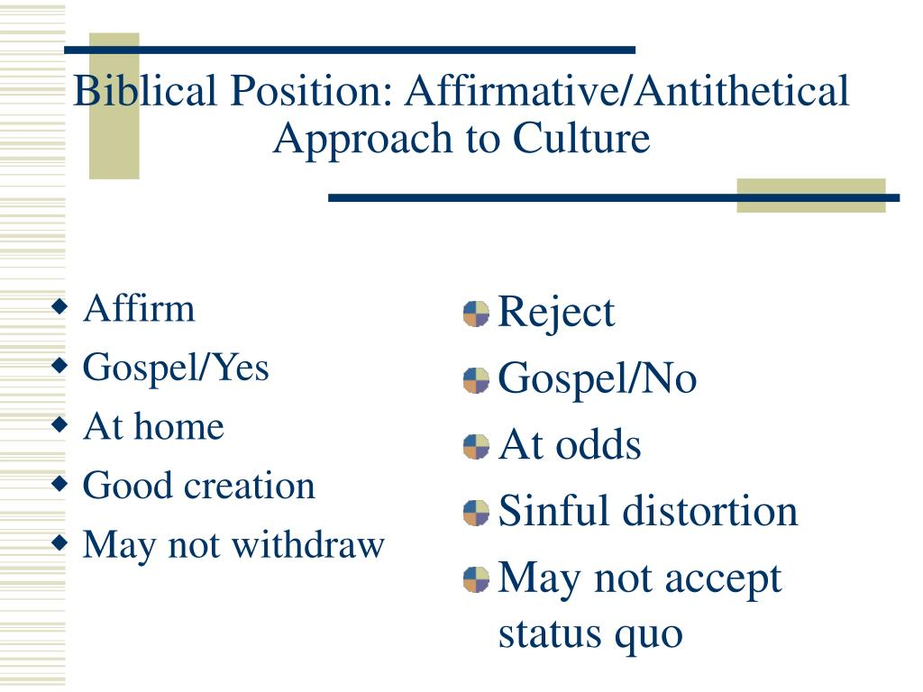 Biblical Position: Affirmative/Antithetical