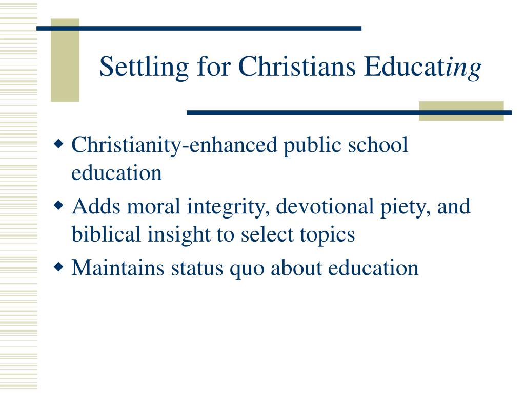 Settling for Christians Educat