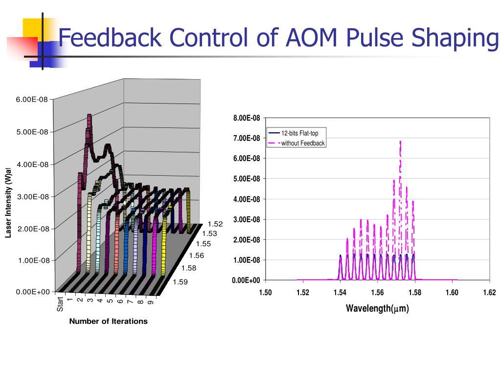 Feedback Control of AOM Pulse Shaping