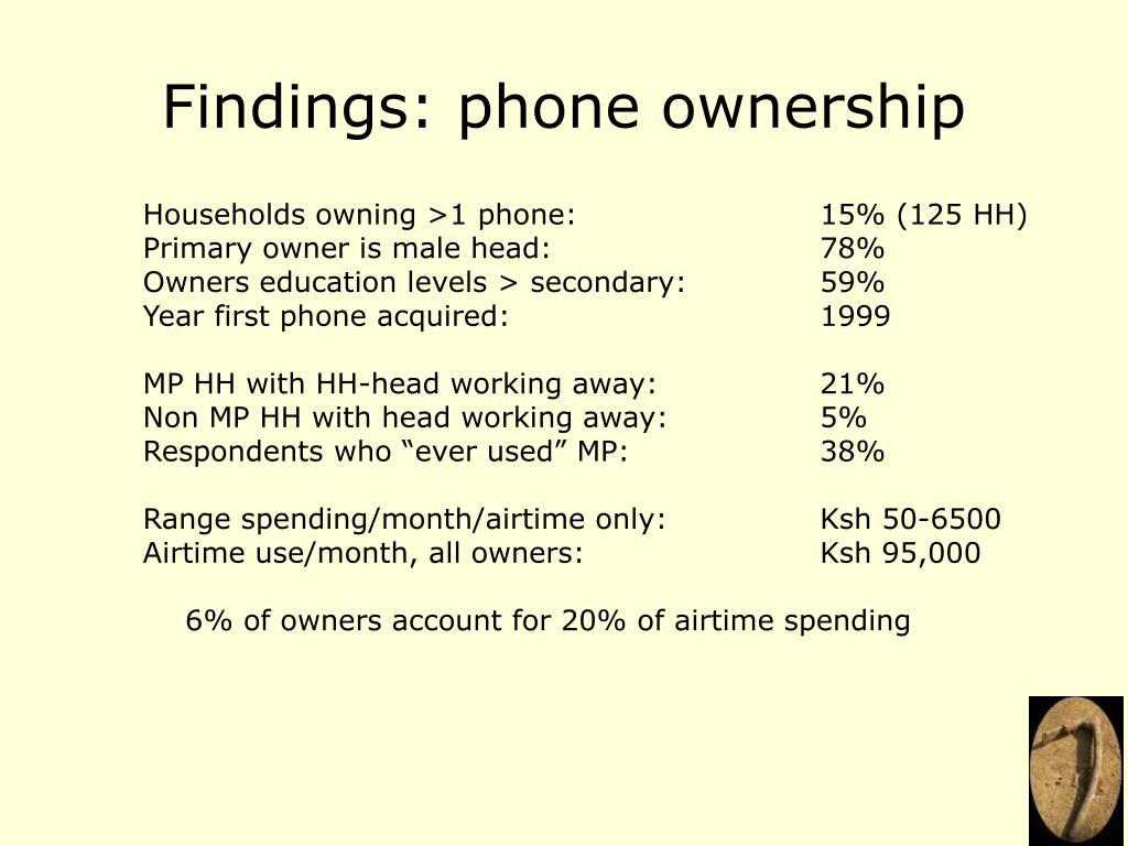 Findings: phone ownership