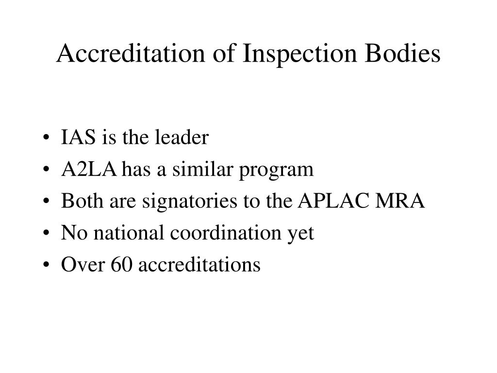 Accreditation of Inspection Bodies