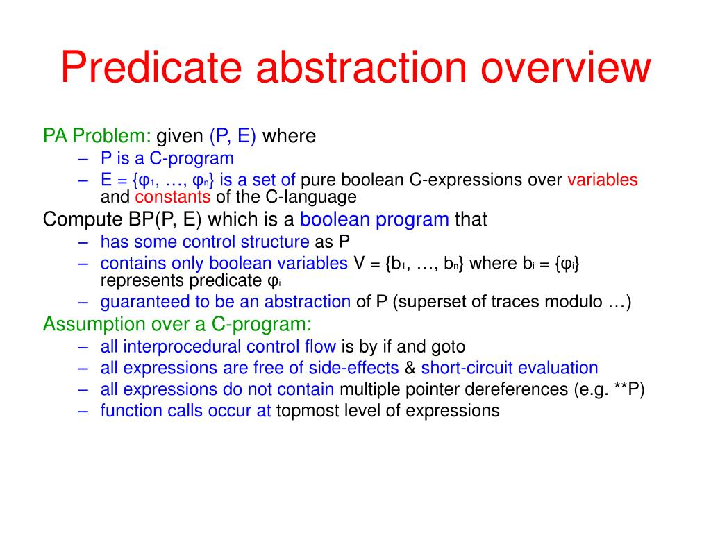 Predicate abstraction overview