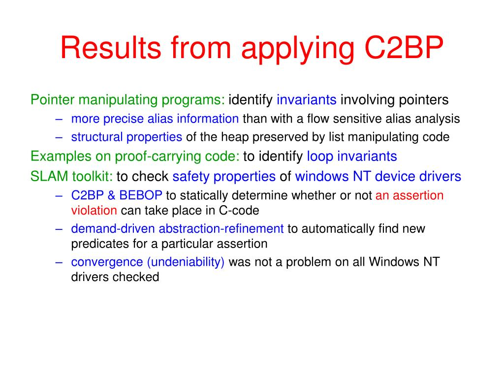 Results from applying C2BP