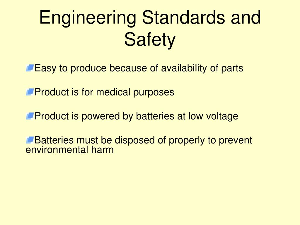 Engineering Standards and Safety