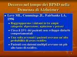 decorso nel tempo dei bpsd nella demenza di alzheimer