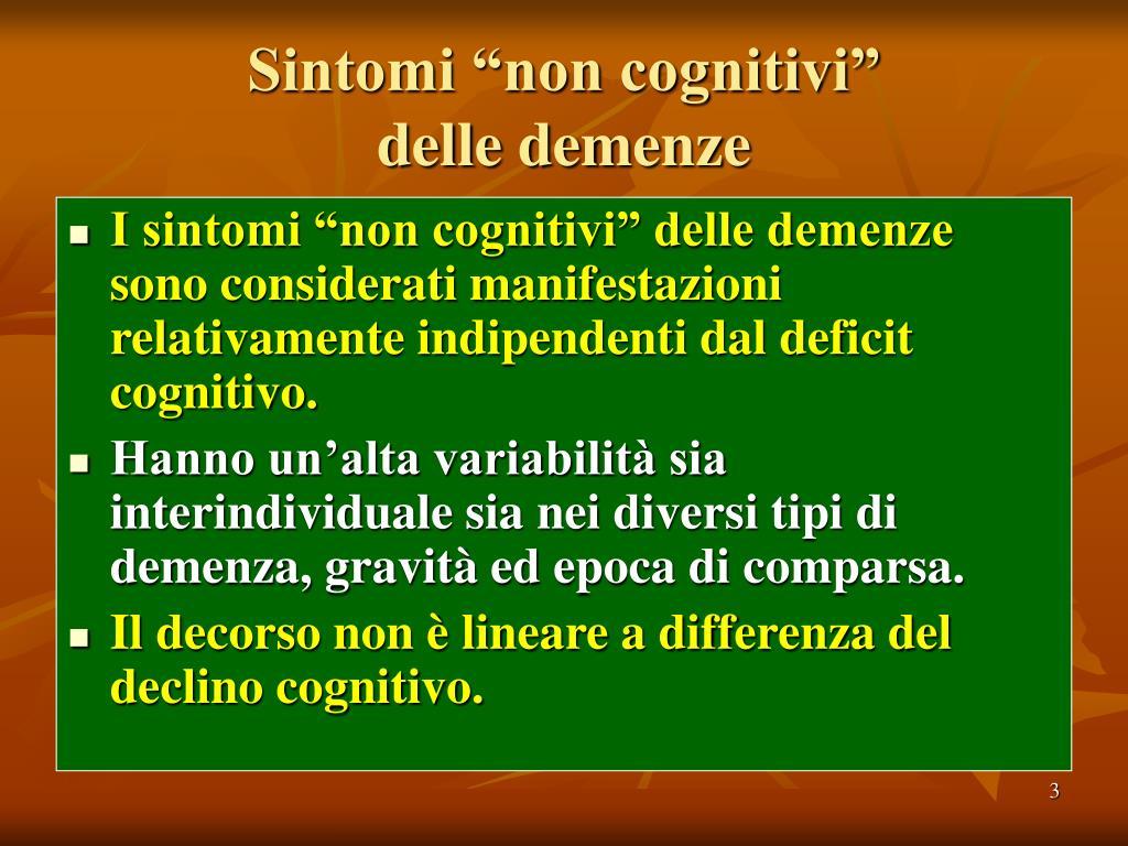 """Sintomi """"non cognitivi""""                delle demenze"""