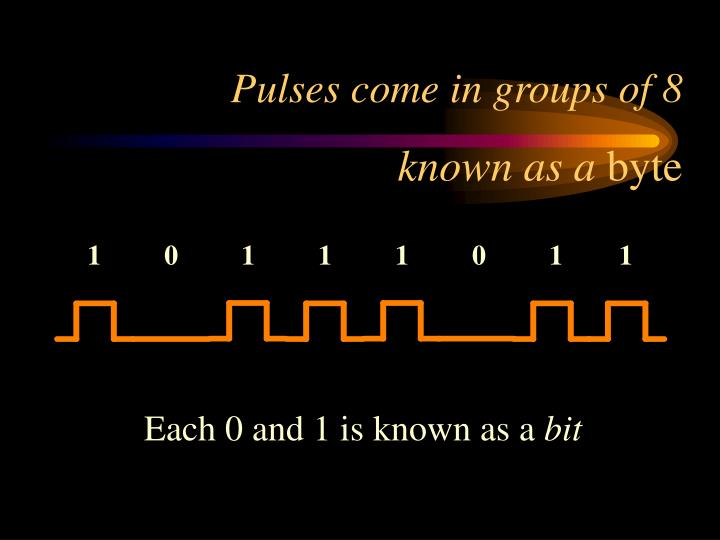 Pulses come in groups of 8 known as a byte