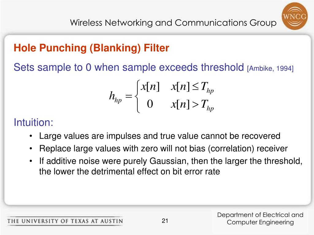 Hole Punching (Blanking) Filter