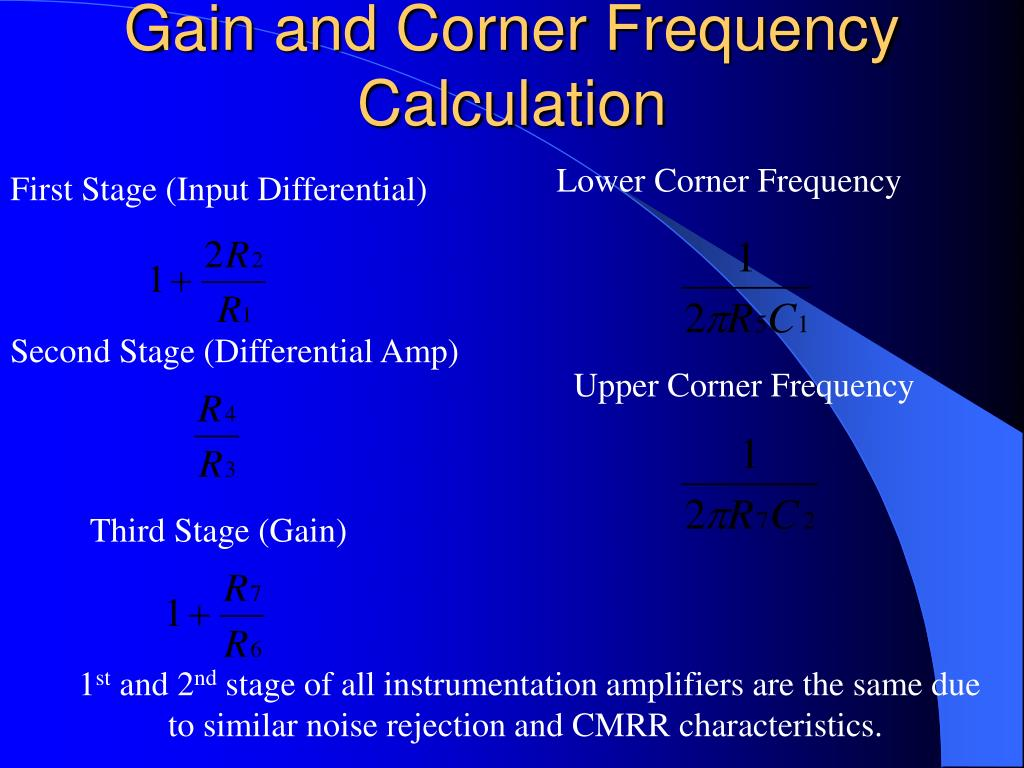 Gain and Corner Frequency Calculation