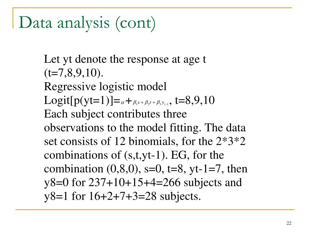 Data analysis (cont)
