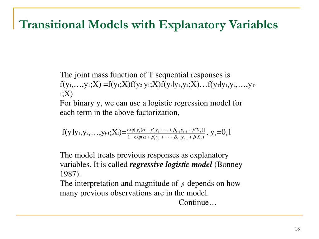 Transitional Models with Explanatory Variables