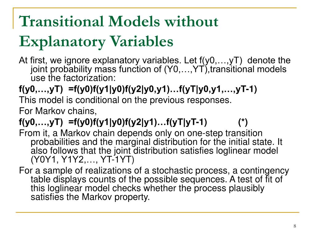 Transitional Models without Explanatory Variables