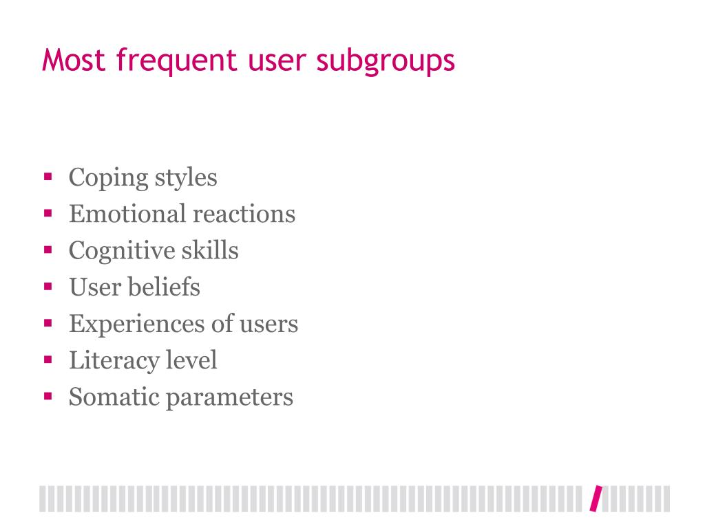 Most frequent user subgroups