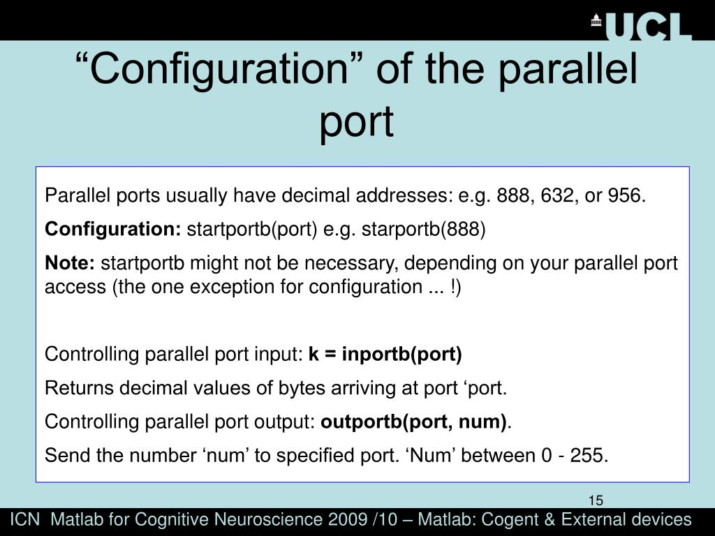 """""""Configuration"""" of the parallel port"""