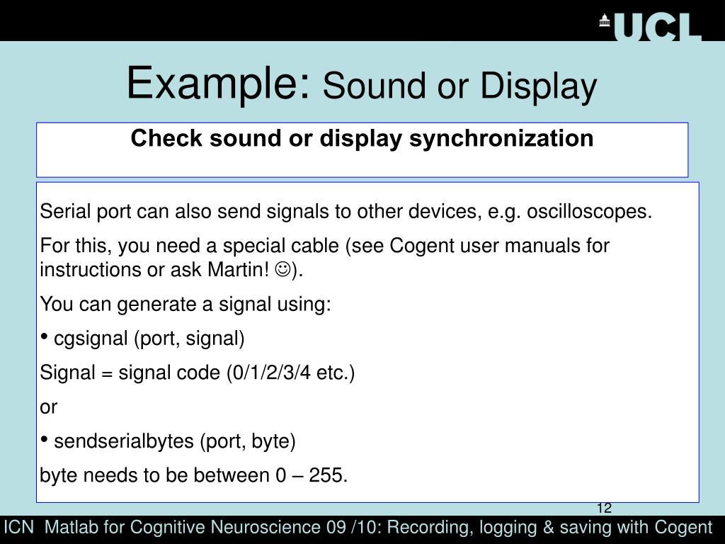 Check sound or display synchronization