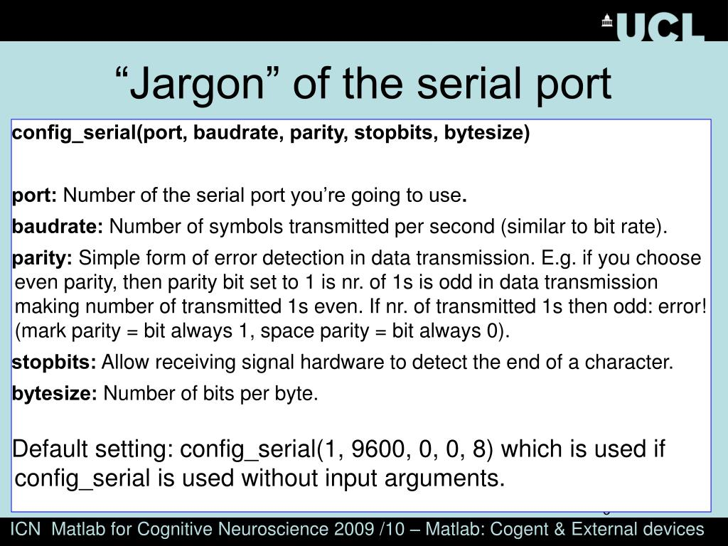 """""""Jargon"""" of the serial port"""