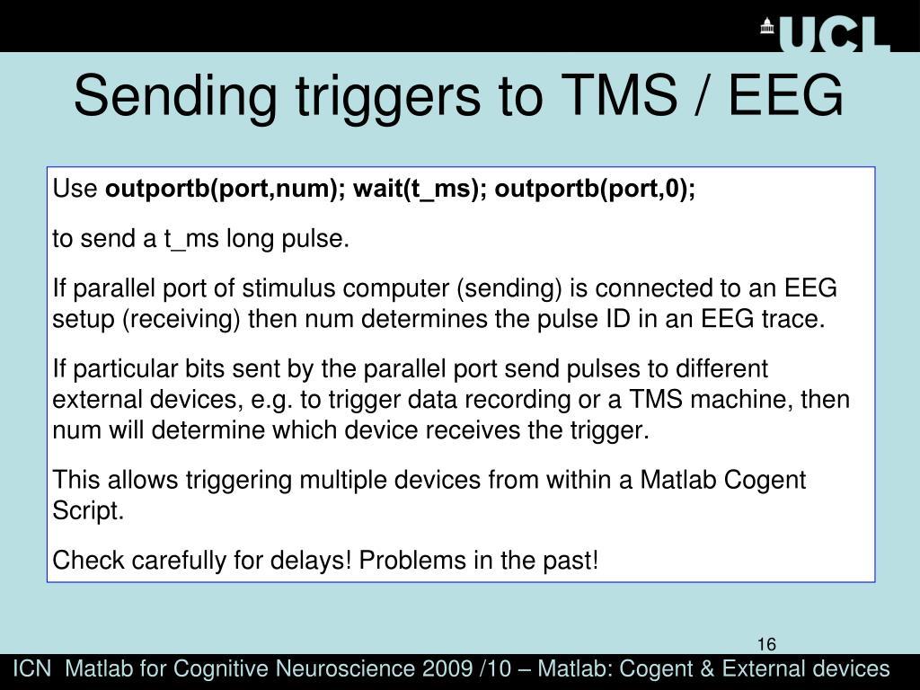 Sending triggers to TMS / EEG