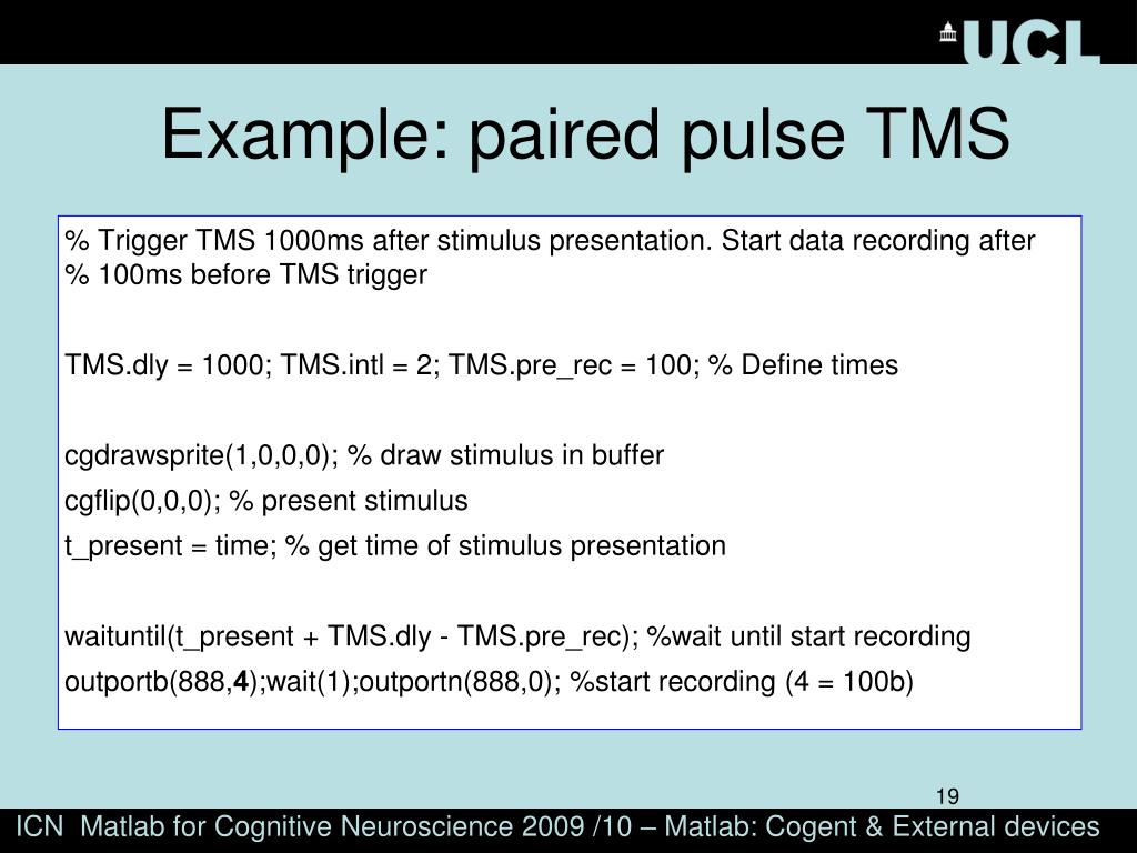 Example: paired pulse TMS