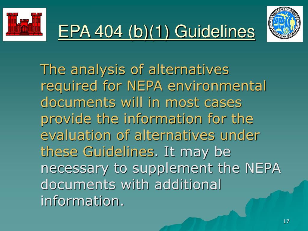 EPA 404 (b)(1) Guidelines