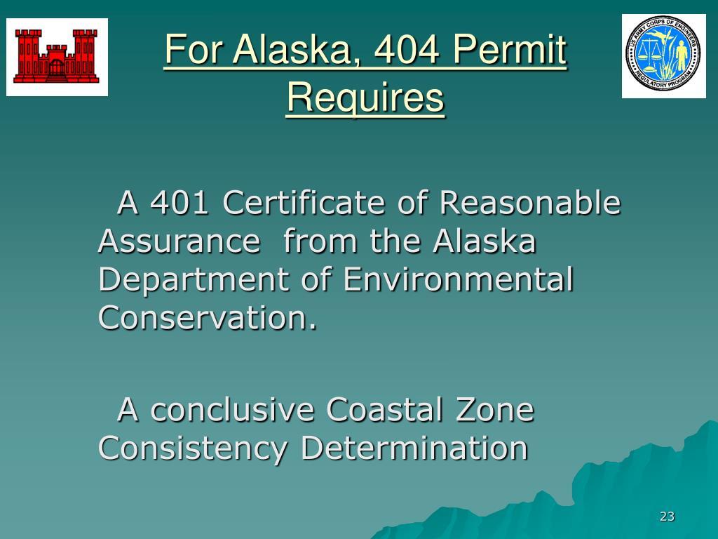 For Alaska, 404 Permit