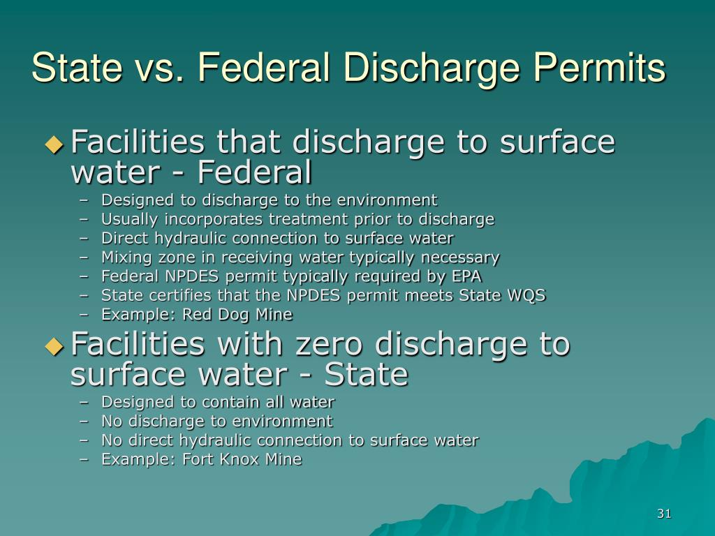 State vs. Federal Discharge Permits