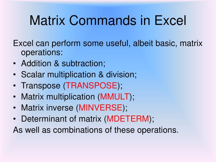 Matrix commands in excel2