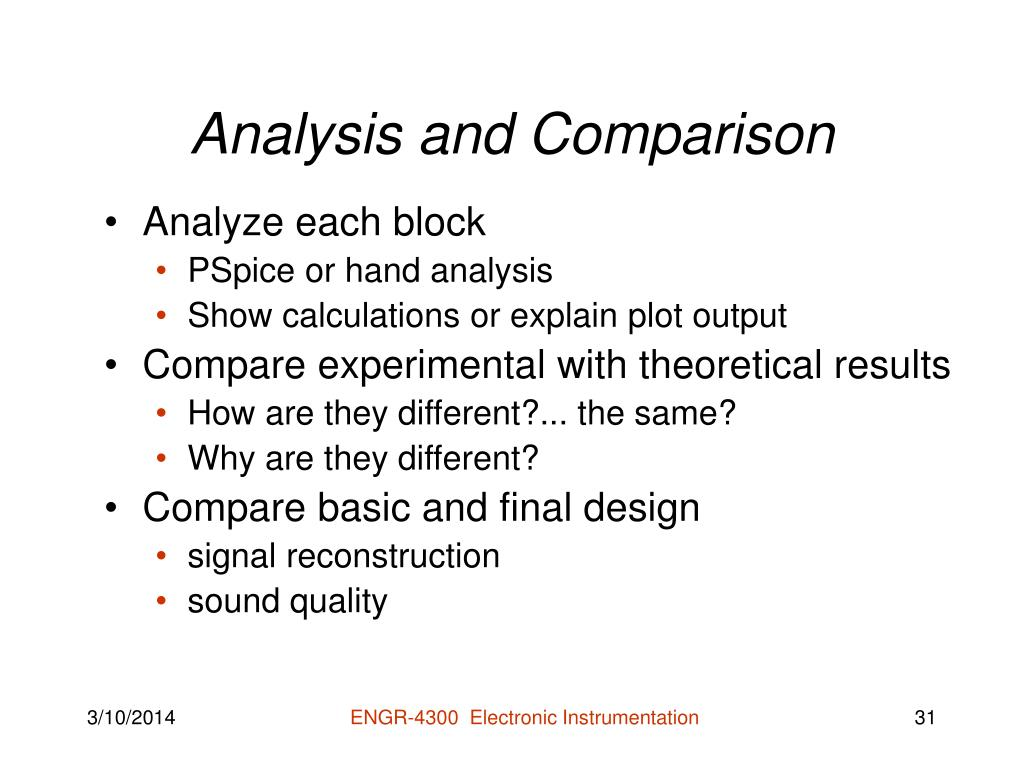 Analysis and Comparison