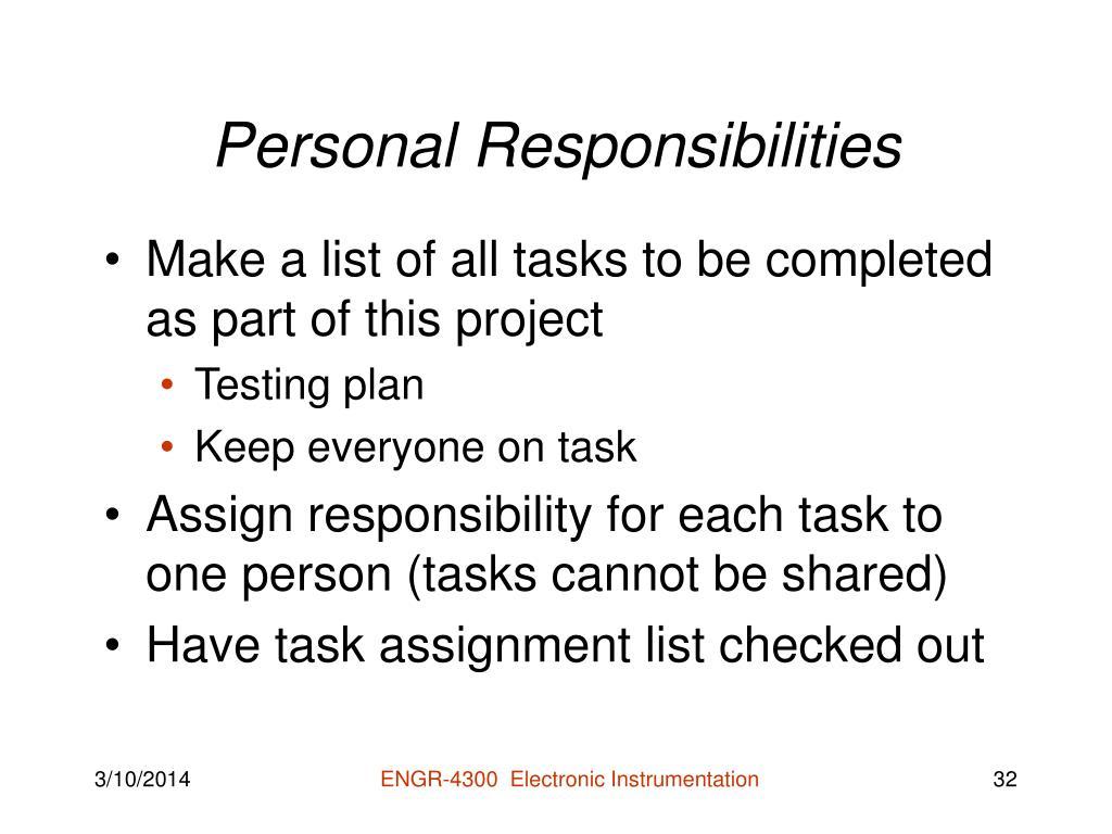 Personal Responsibilities