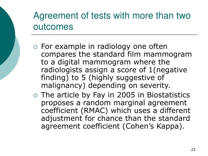 Agreement of tests with more than two outcomes
