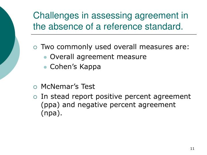 Challenges in assessing agreement in the absence of a reference standard.