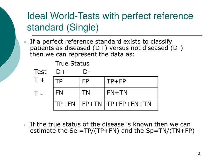 Ideal world tests with perfect reference standard single