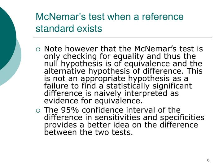 McNemar's test when a reference standard exists