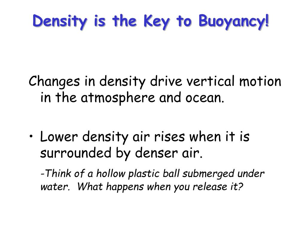 Density is the Key to Buoyancy!