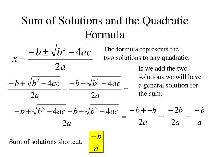 Sum of Solutions and the Quadratic Formula
