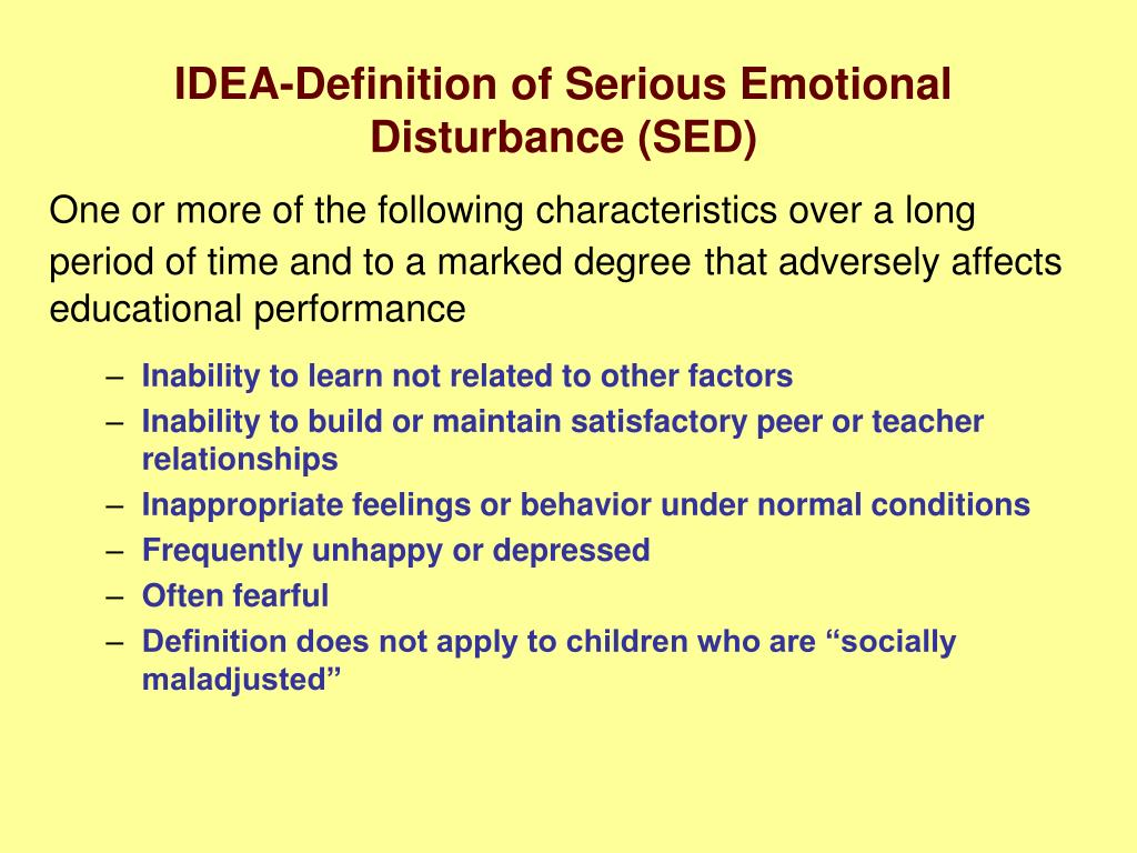 emotional disturbance Dsm-5 changes: implications for child serious emotional disturbance disclaimer  samhsa provides links to other internet sites as a service to its users and is not responsible for the availability.