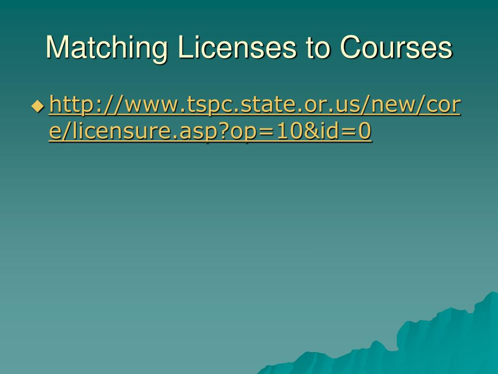 Matching Licenses to Courses