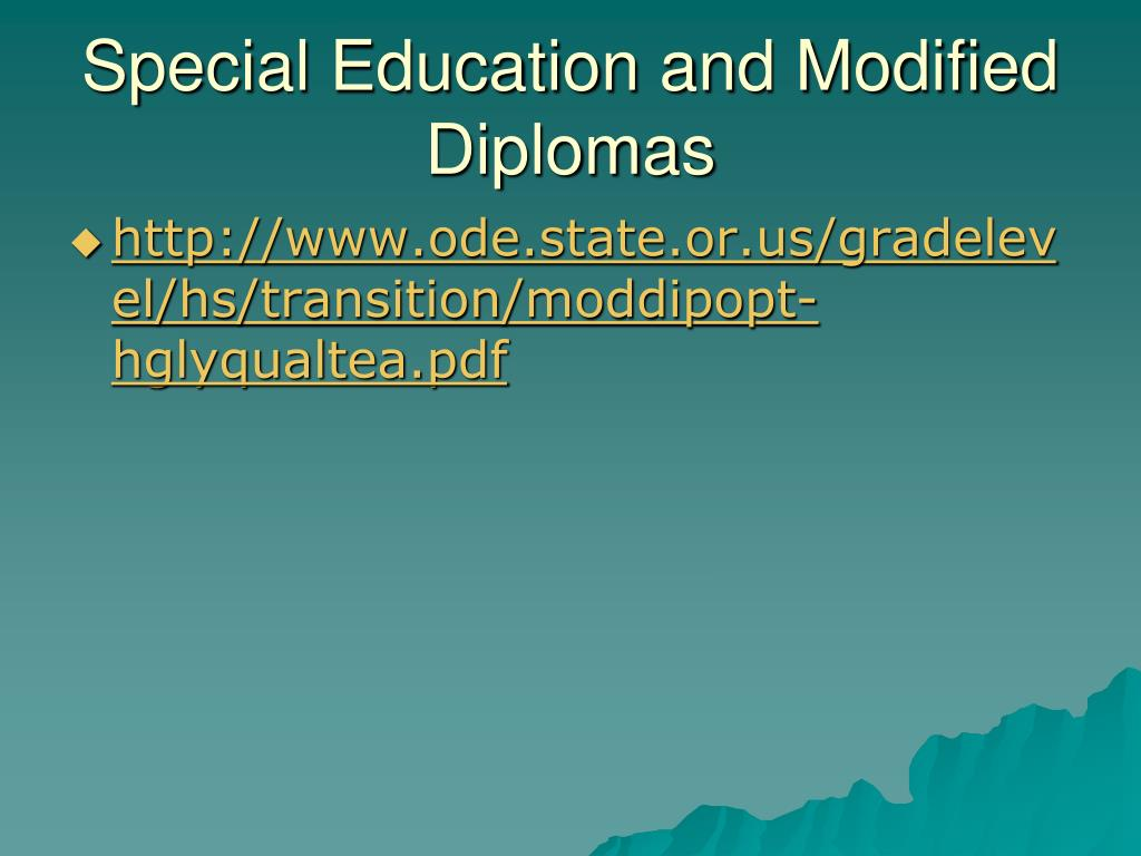 Special Education and Modified Diplomas