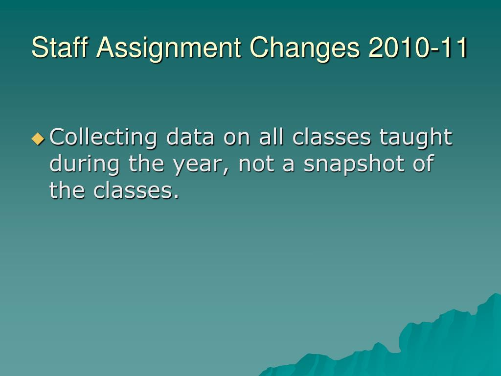 Staff Assignment Changes