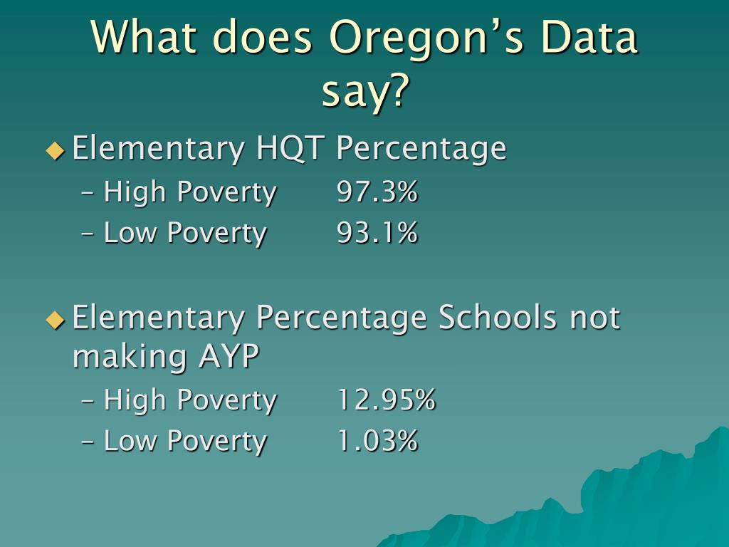 What does Oregon's Data say?