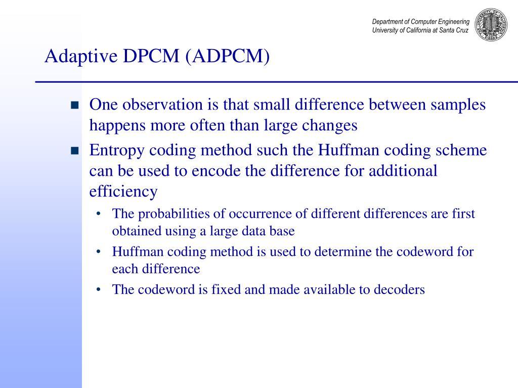 Adaptive DPCM (ADPCM)