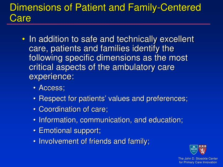 Dimensions of Patient and Family-Centered Care