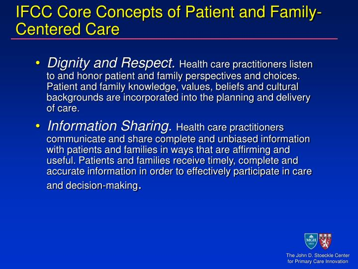 Ifcc core concepts of patient and family centered care