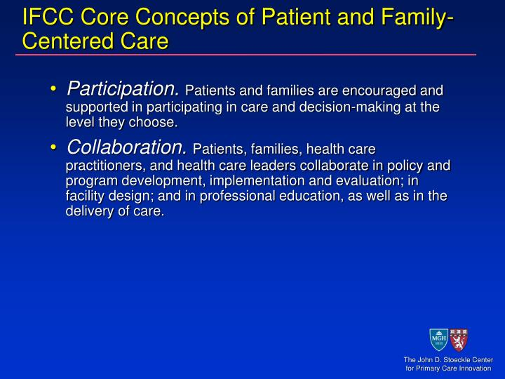 Ifcc core concepts of patient and family centered care1