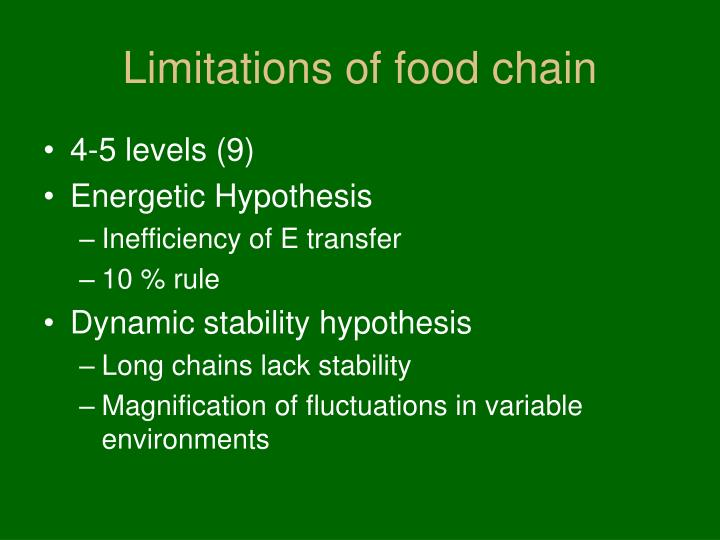 Limitations of food chain