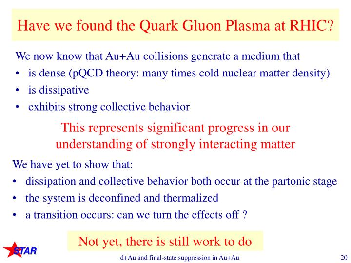 Have we found the Quark Gluon Plasma at RHIC?