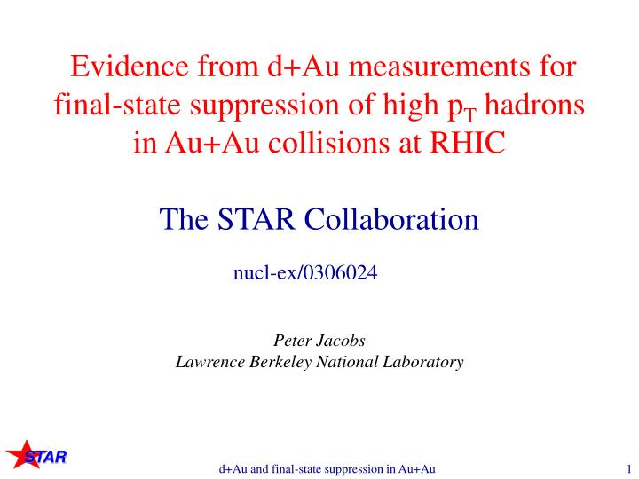 Evidence from d+Au measurements for final-state suppression of high p