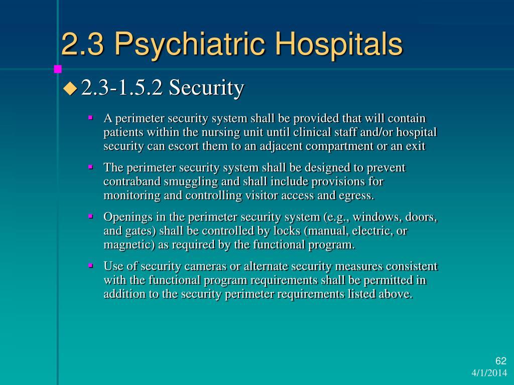 2.3 Psychiatric Hospitals