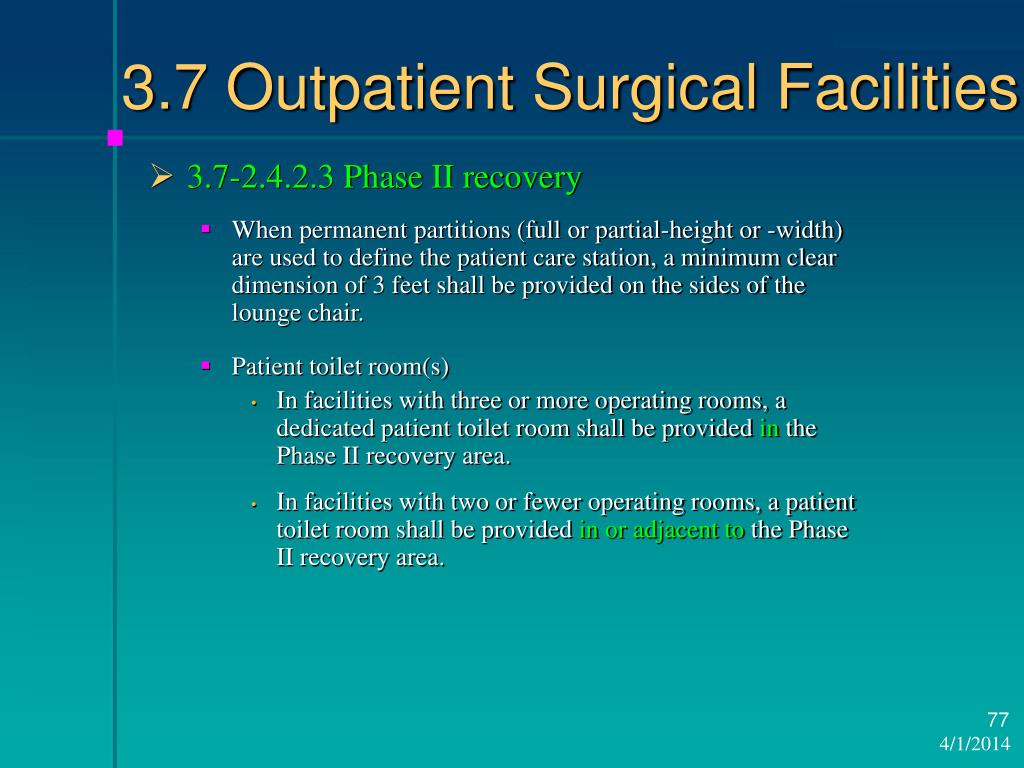 3.7 Outpatient Surgical Facilities