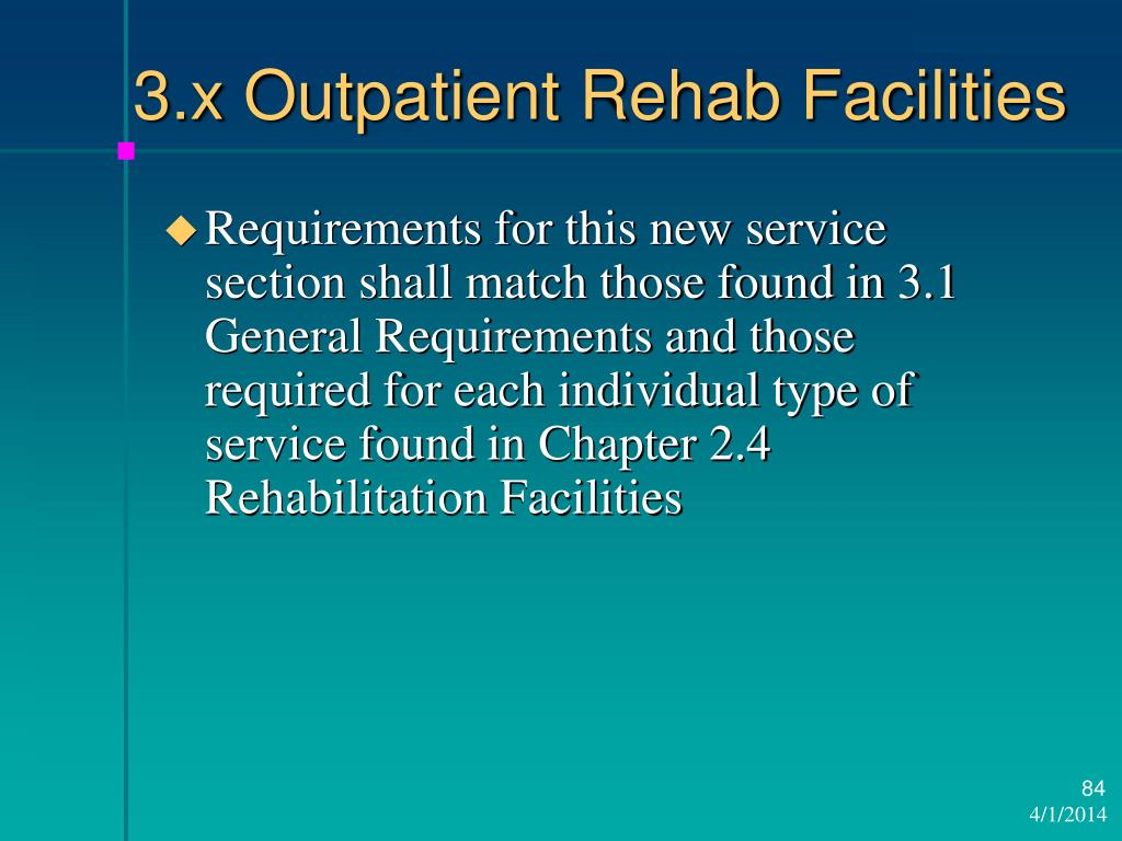 3.x Outpatient Rehab Facilities